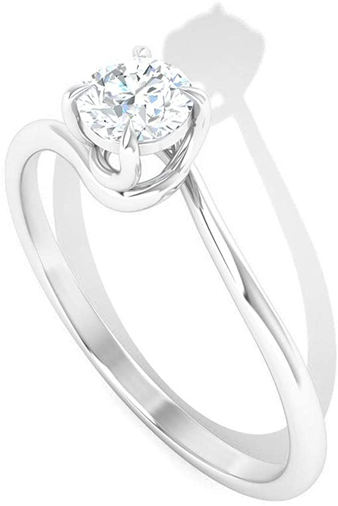 0.25 Carat Twisted Solitaire Diamond Engagement Ring, Antique Bridal Wedding Anniversary Ring Set, IGI Certified Diamond Matching Promise Ring for Her, 14K White Gold, Size:US 9.5
