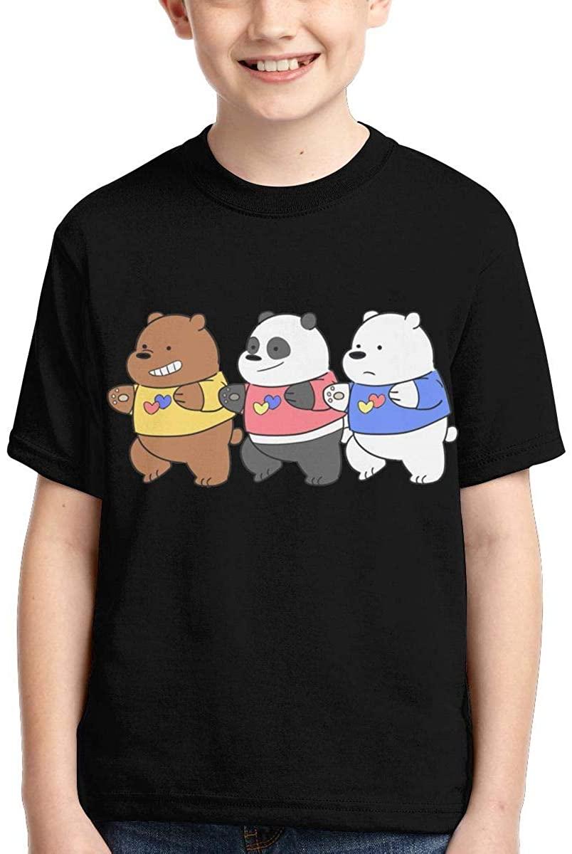 Youth Boys Girls We Bare Bears T Shirt Crewneck Short Sleeve Tees Top Shirt