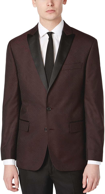 RYAN SEACREST Modern Fit Burgundy Patterned Dinner Jacket 40 Long 40L
