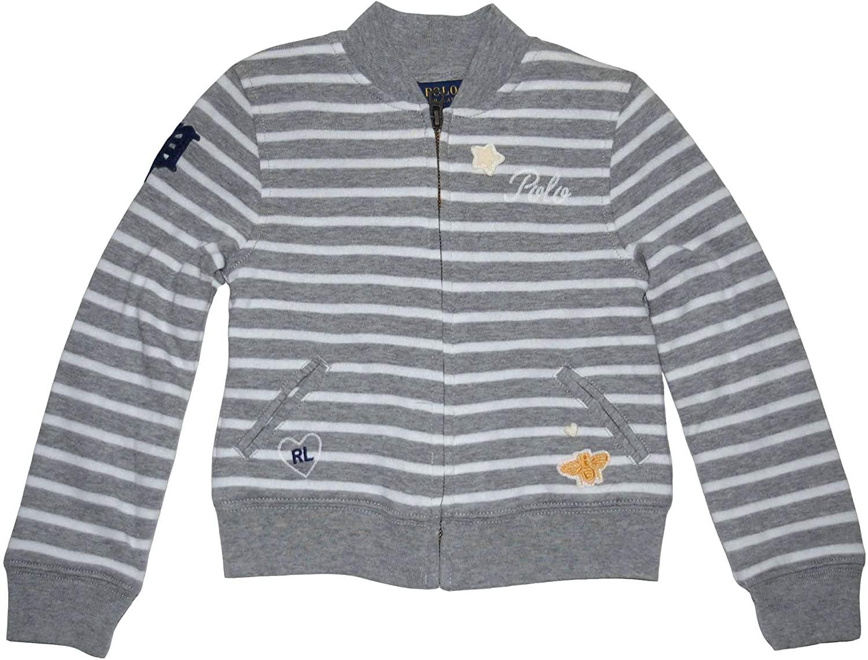 Ralph Lauren Polo Girls Striped Double Knit Patch Hoodie Sweatshirt (5)