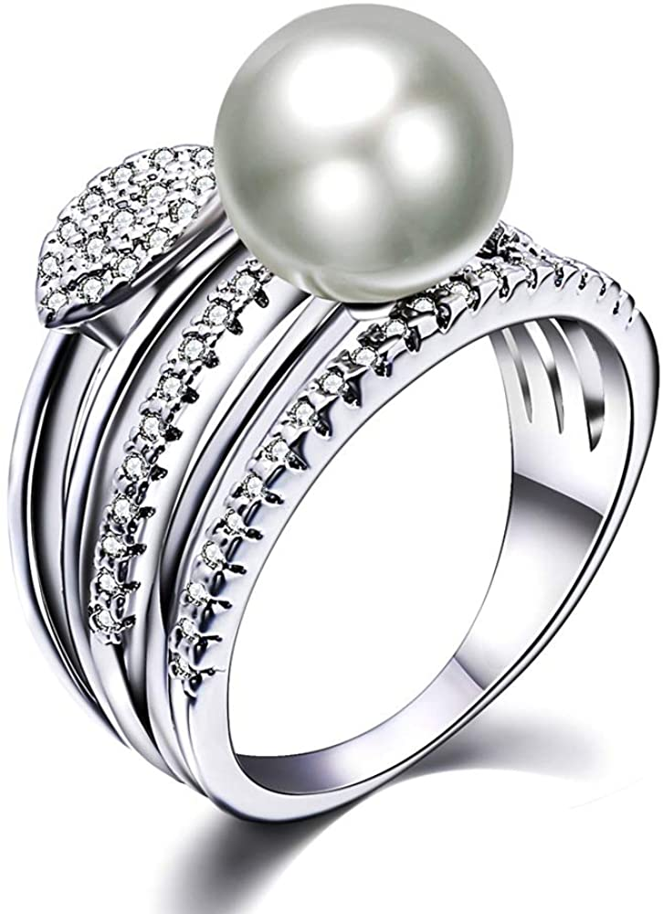 YLMyself New Leaf Ring with Big Pearl Trendy White Beautiful Jewellery Wholesale Great anel aneis Female Jewelry Brass Rings