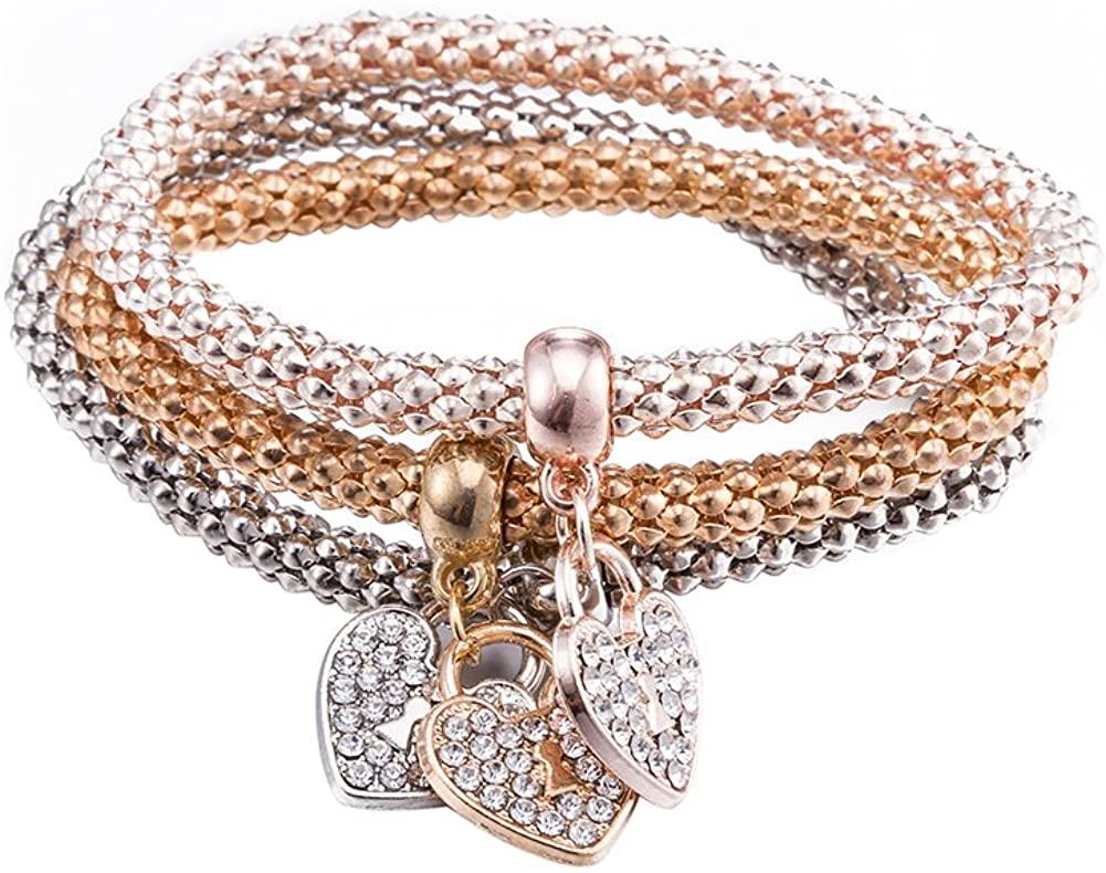 Fashion Heart Pendant Bangle Bracelet Elegant 3 Set Chain Gold Plated