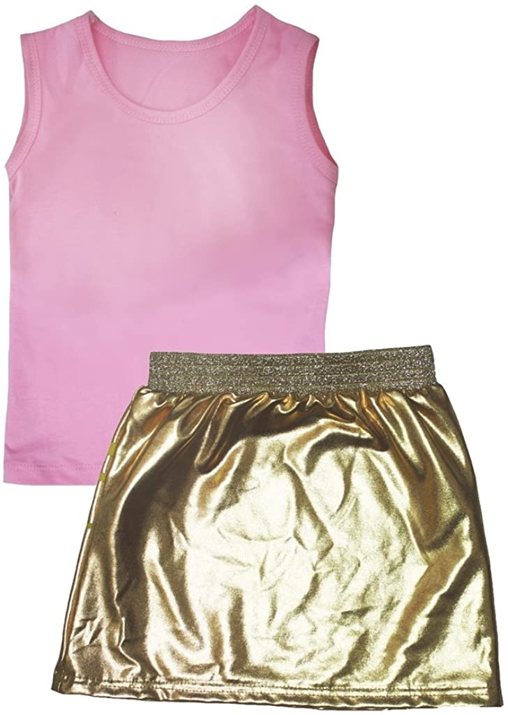 Petitebella Plain Pink Vest Star Gold Skirt Set 1-8y