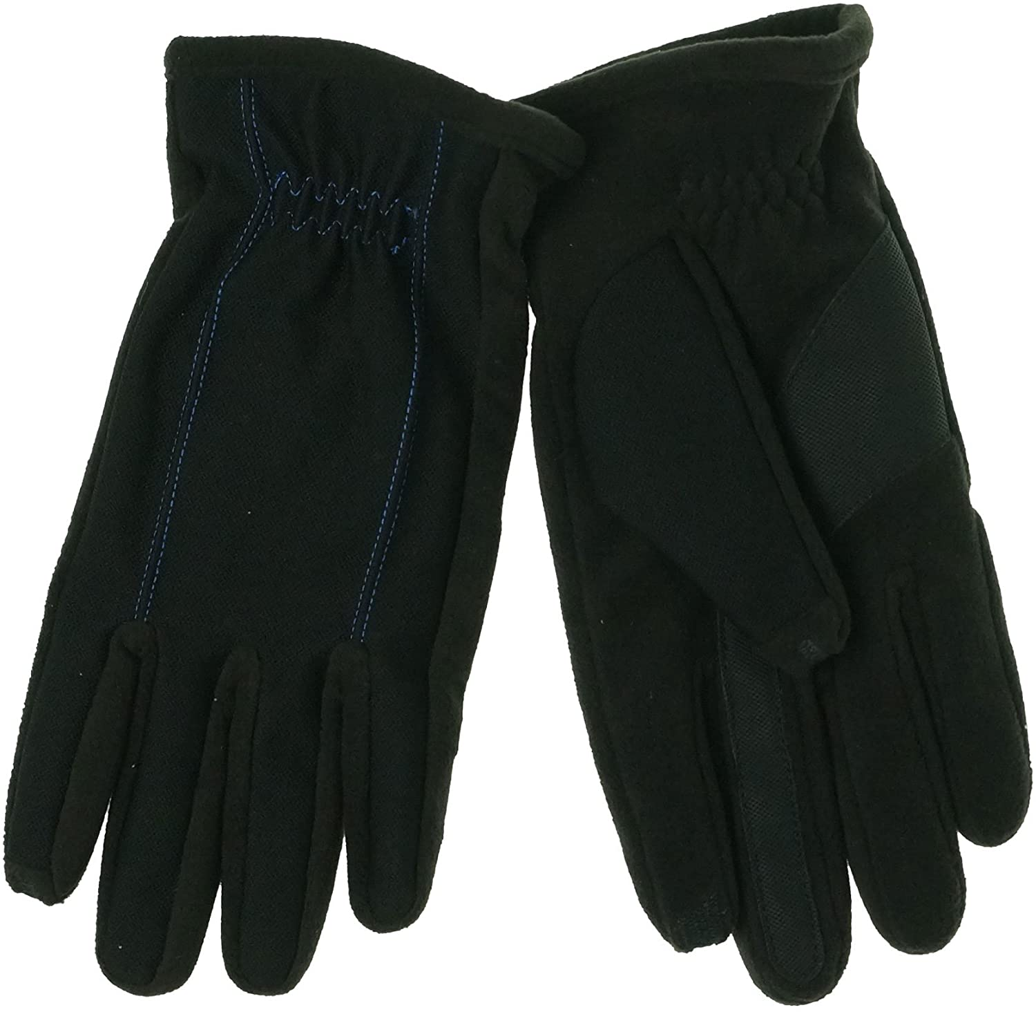 ISO Isotoner Men's Gloves SmarTouch Tech Stretch Blue Stitch Large