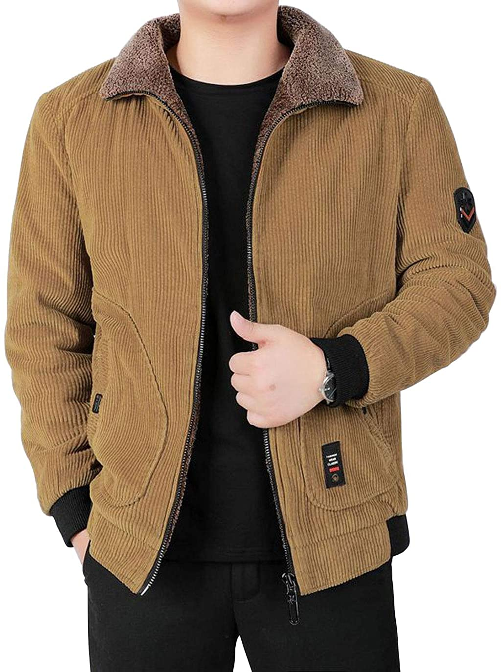 ebossy Men's Winter Fur Collar Full Zip Thicken Quilted Lined Corduroy Bomber Jacket