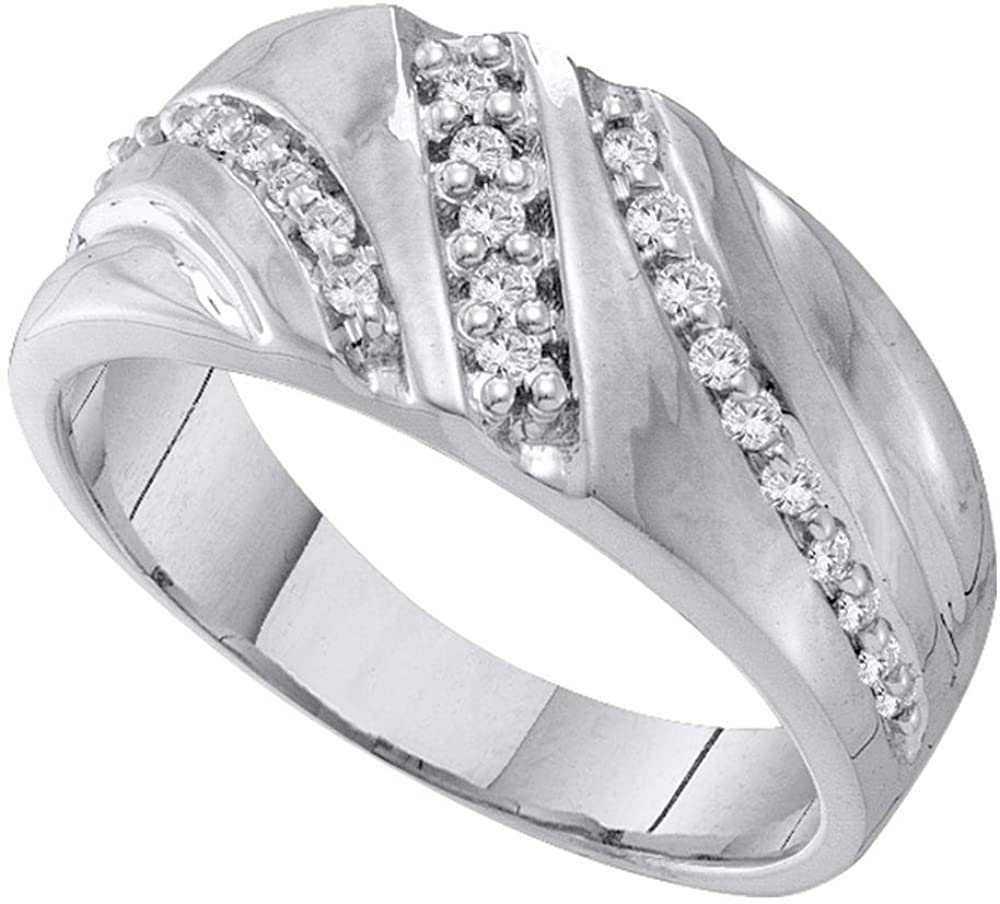 Sonia Jewels 10K White Gold Round Diamond Mens Wedding Band Ring - Channel Setting (1/4 cttw.)