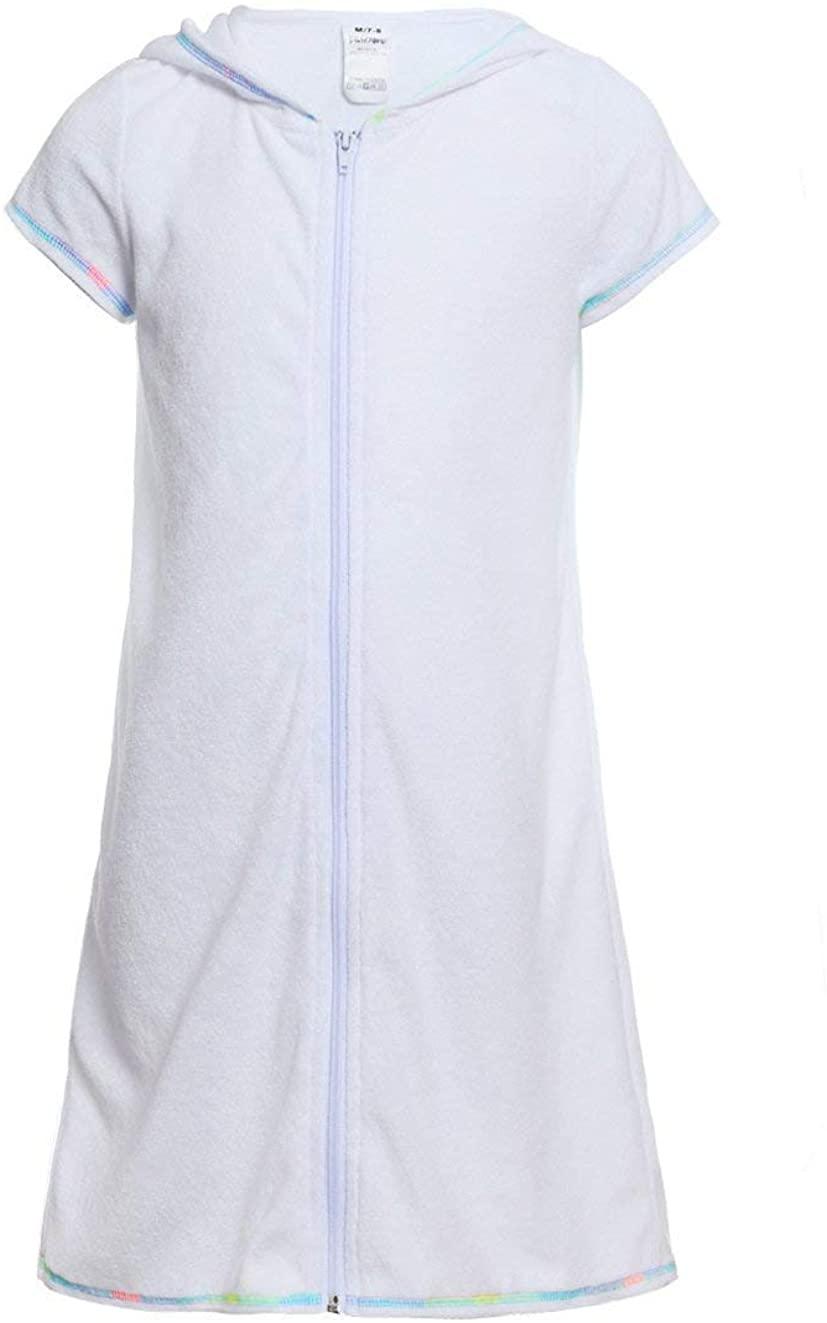 LEINASEN Girls Swim Cover Ups, Short Sleeves Hooded Terry Swimwear