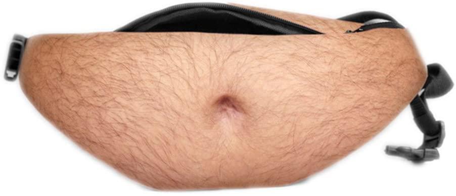 3D Woman Belly Pockets PU Novelty Men Beer Belly Waist Bag A