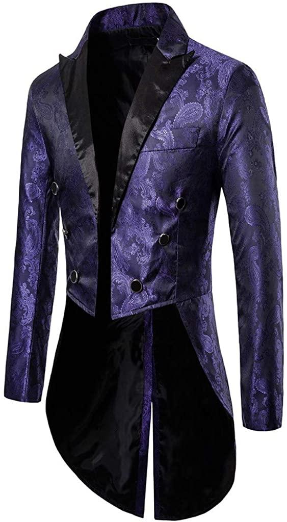 Mens Slim Tailcoat Jacket Goth Steampunk Suit Tuxedo Coat Swallowtail Party Wedding Blazer Jacket