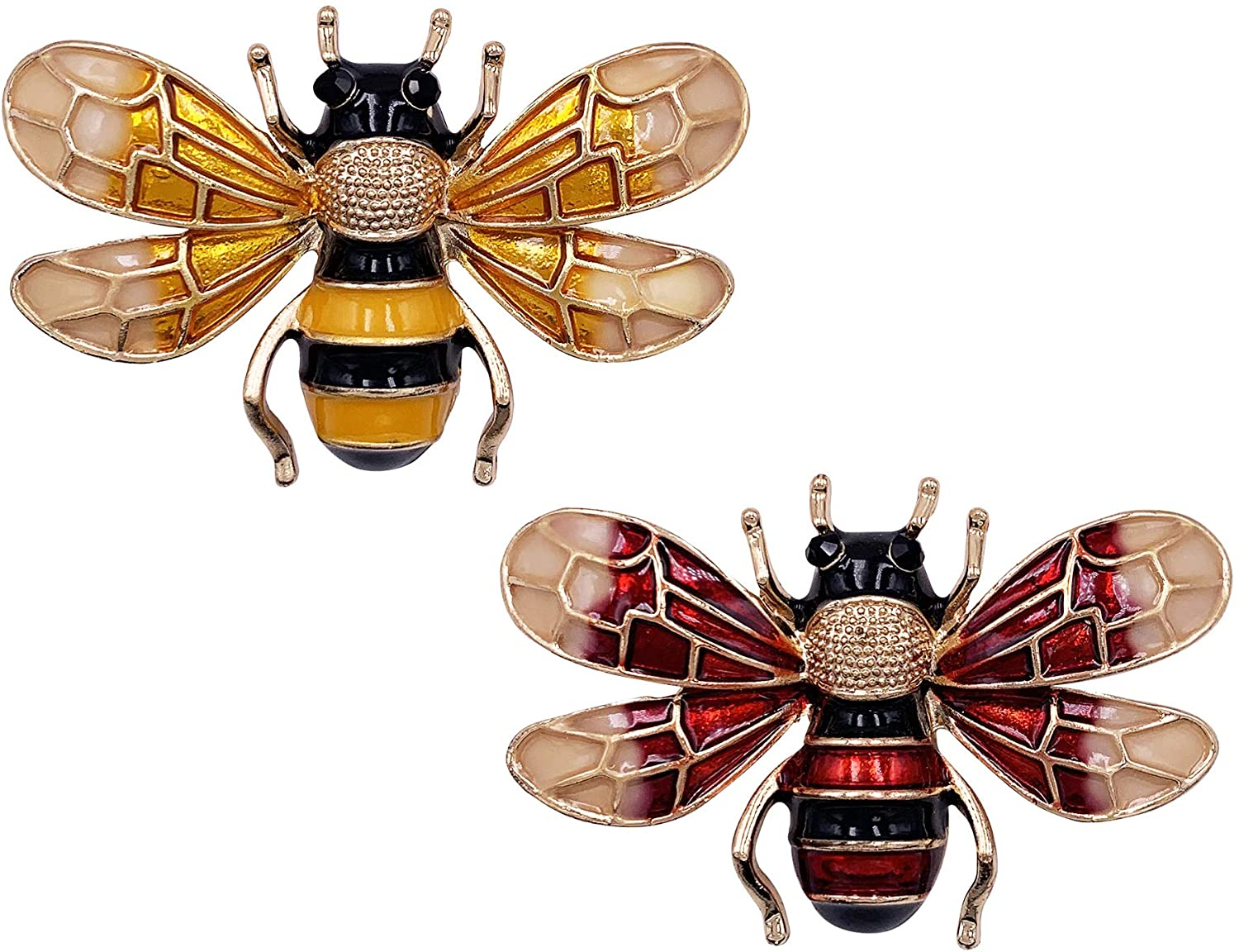 HAISWET Yellow Red Enemal Honeybee Bee Costume Jewelry Accessory Brooch Pin