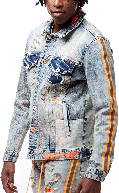 Smoke Rise Fashion Denim Jacket with Stripes(JJ20136)