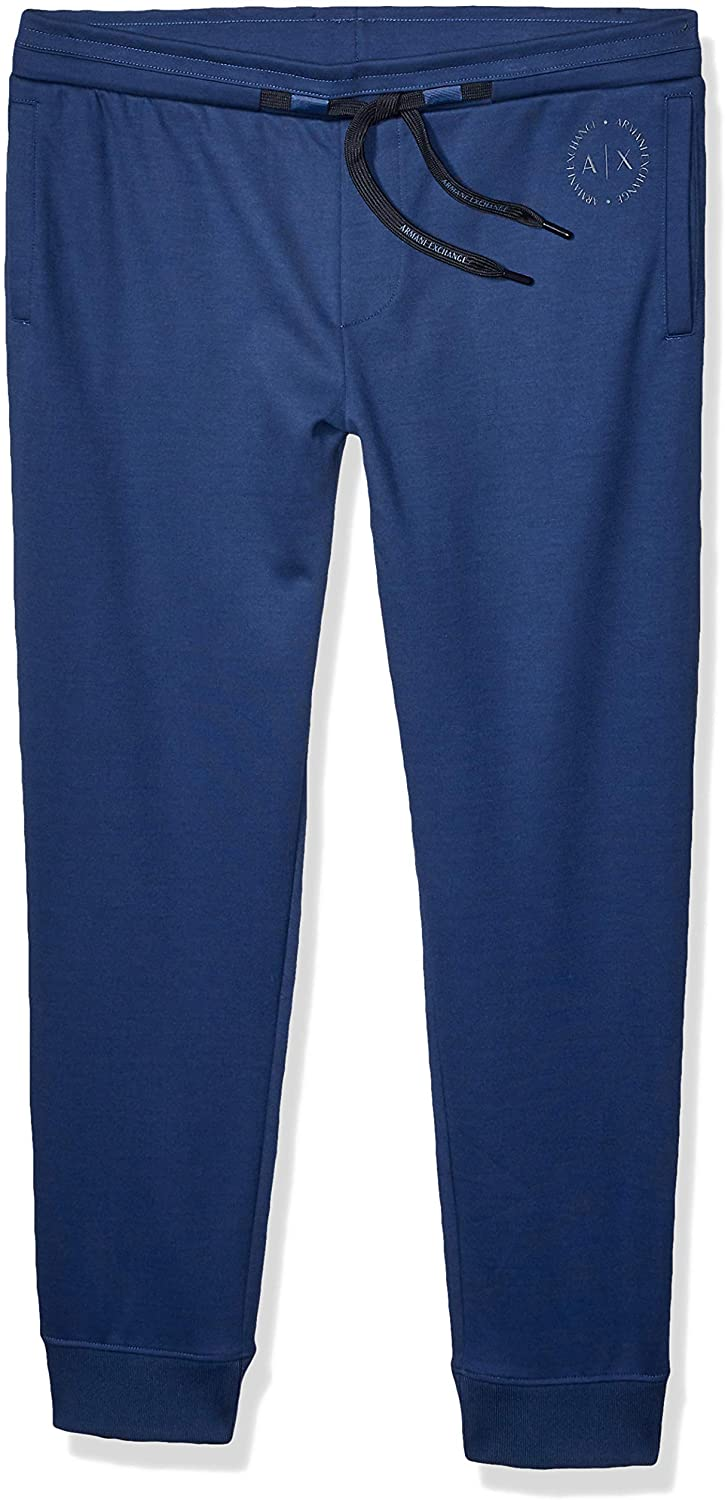 AX Armani Exchange Mens Plain Casual Trousers with Small Circular Logo