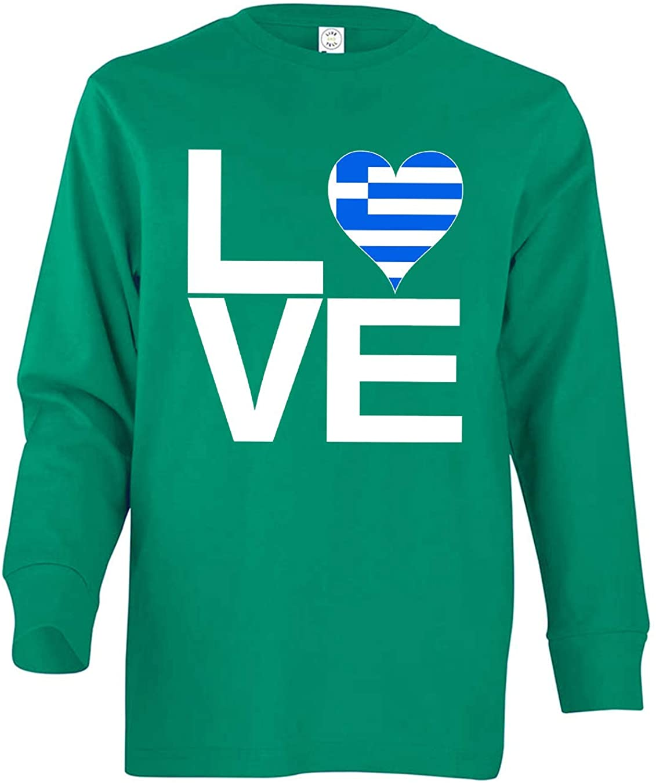 Tenacitee Girl's Youth Love Block Greece Heart Long Sleeve T-Shirt