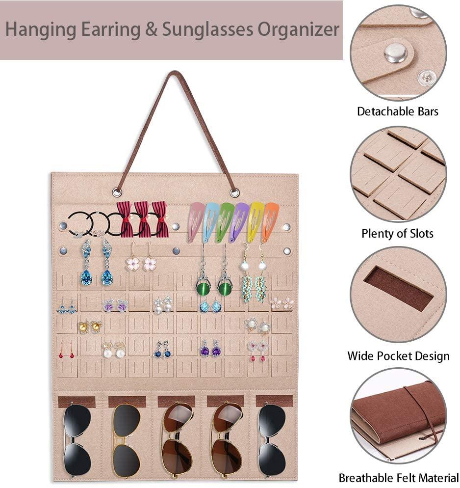 CODACE Hanging Jewelry Holder Organizer, Earring Holder Organizer Wall Mount Jewelry Ring Display, Bracelet & Necklace Holder for Earrings, Sunglasses Storage Organizer Door Hanger