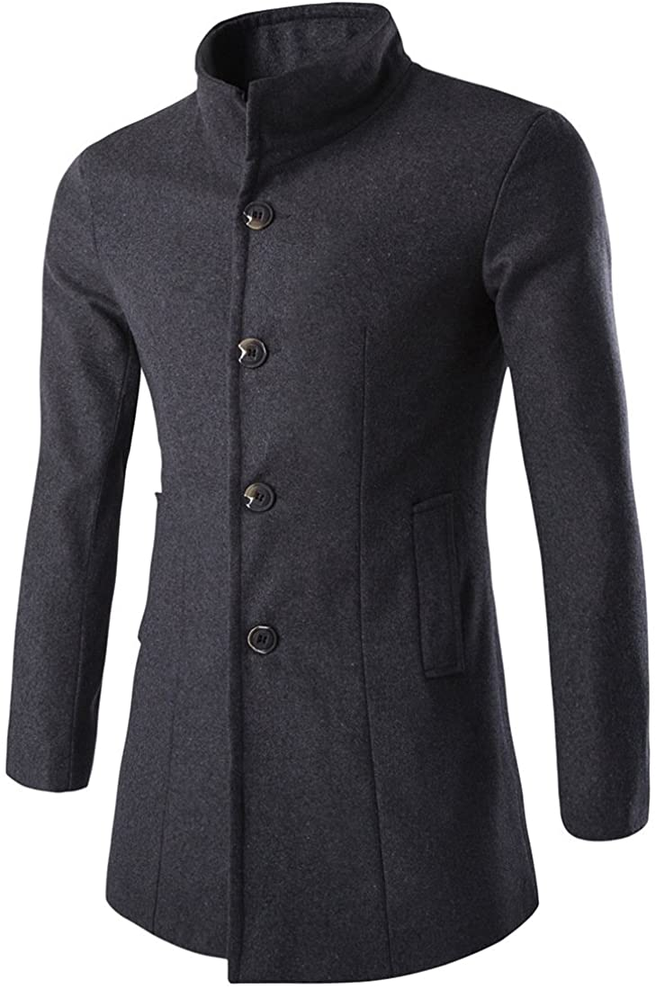 Nomber 5 Colors Men's Fall Winter Stand Collar Medium Long Coat Men's Wool Windbreake Long Sleeve Casual Coat Outwearr