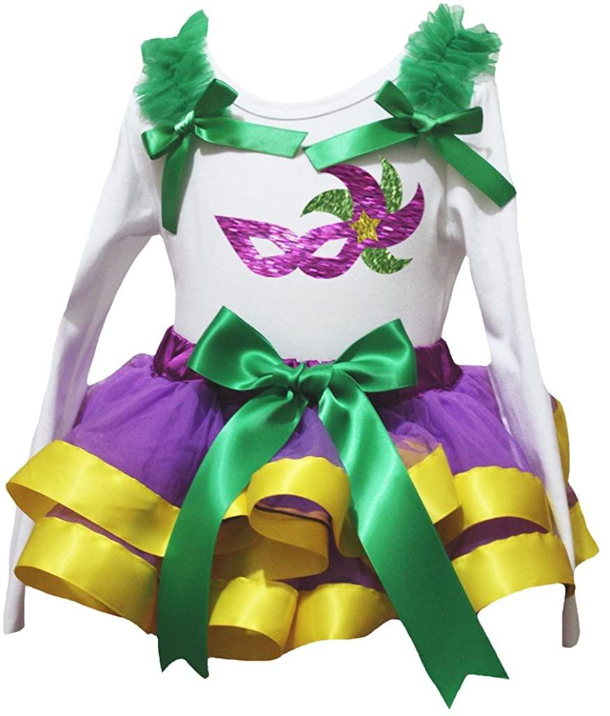 Petitebella Mardi Gras Mask White L/s Shirt Purple Yellow Petal Skirt Nb-8y