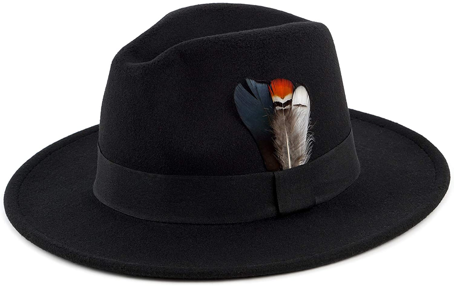 Classic Fedora Hat for Men & Women Wide Brim Panama Hat Vintage Gangster Hat with Black Band and Feather