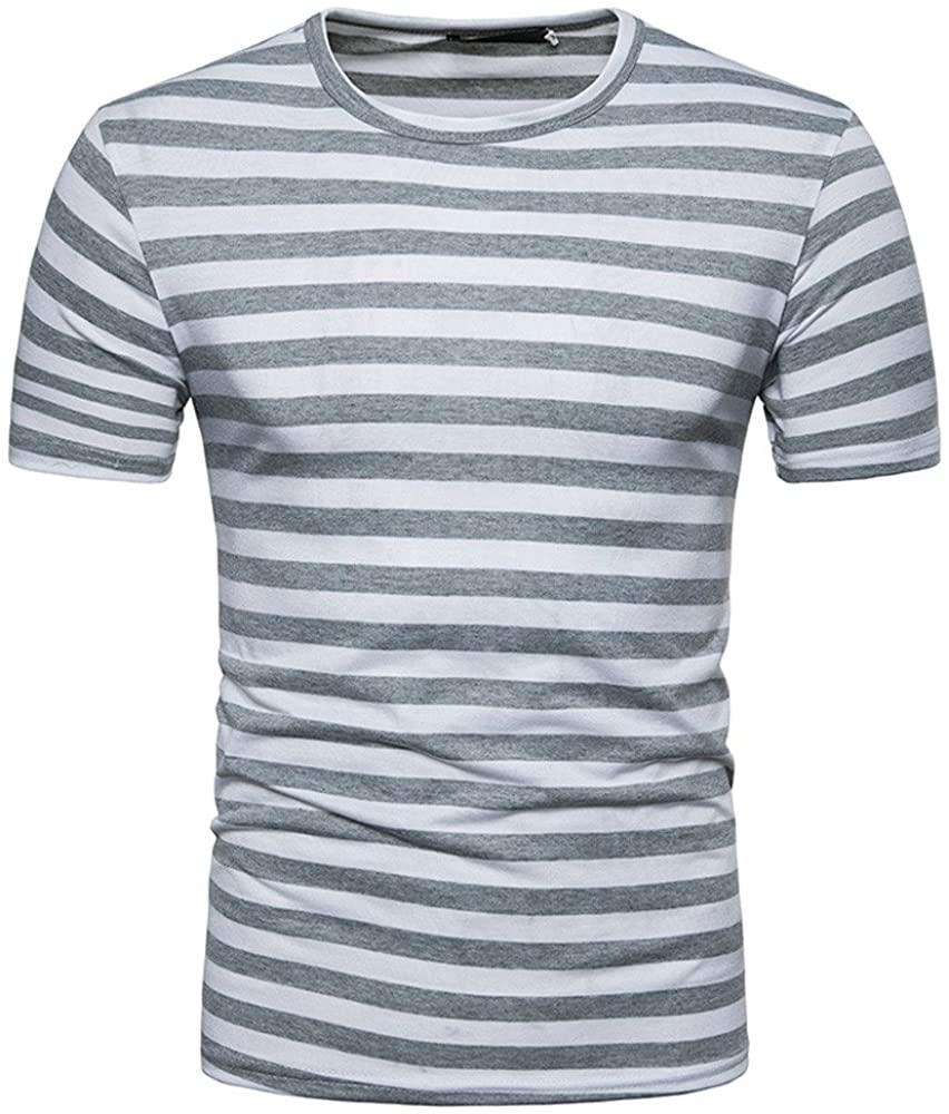 ZEFOTIM ✿ Men T Shirts Summer Casual Stripe Round Neck Pullover T-Shirt Top Blouse