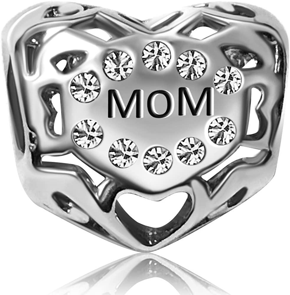 JMQJewelry Mom Heart I Love You Birthday Birthstone Charms Jan-Dec Dangle Bead for Bracelets