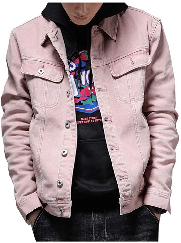 LifeHe Mens Solid Pink Jean Coat Denim Jacket Steetwear