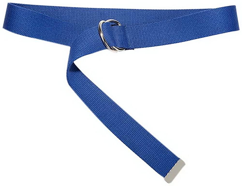 Canvas Weave Belt Double Ring Buckle Dress Shirt Metal Tip Wide Belt, Solid Blue