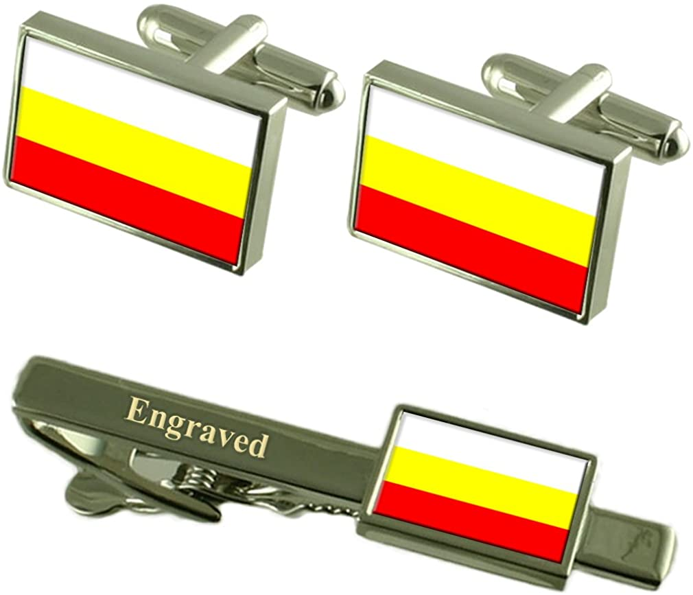 Hradec Kralove City Czech Republic Flag Cufflinks Engraved Tie Clip Set