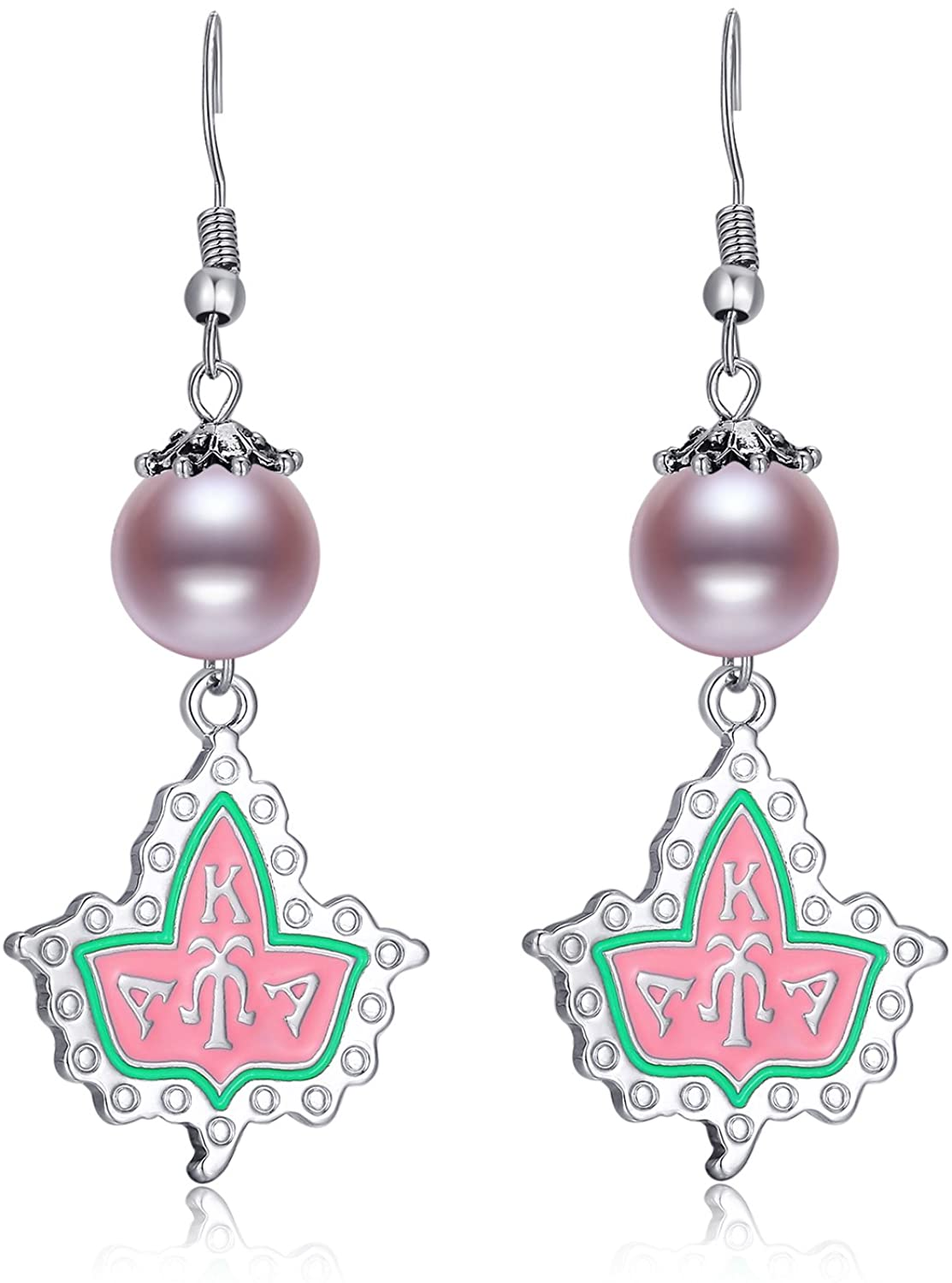 Lanqueen AKA Sorority Gifts Alpha Kappa Alpha Paraphernalia Vintage Pearl Crystal Necklace Earrings for Women Girls