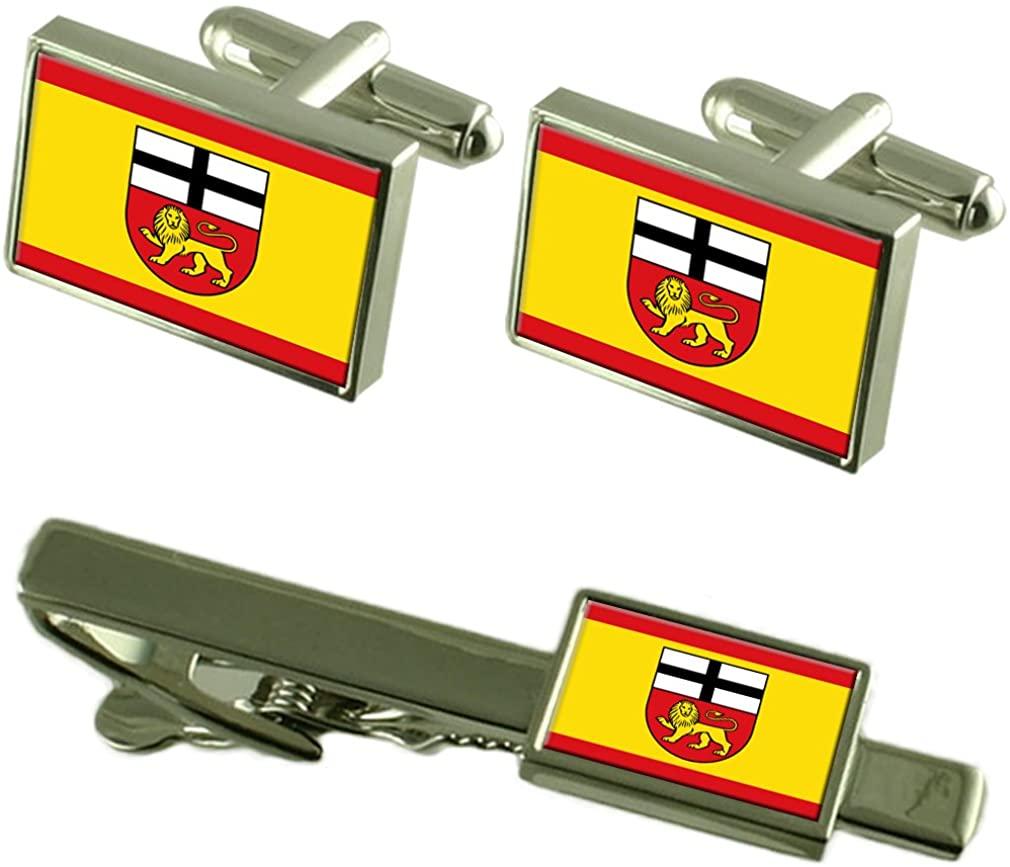Bonn City Germany Flag Cufflinks Tie Clip Box Gift Set
