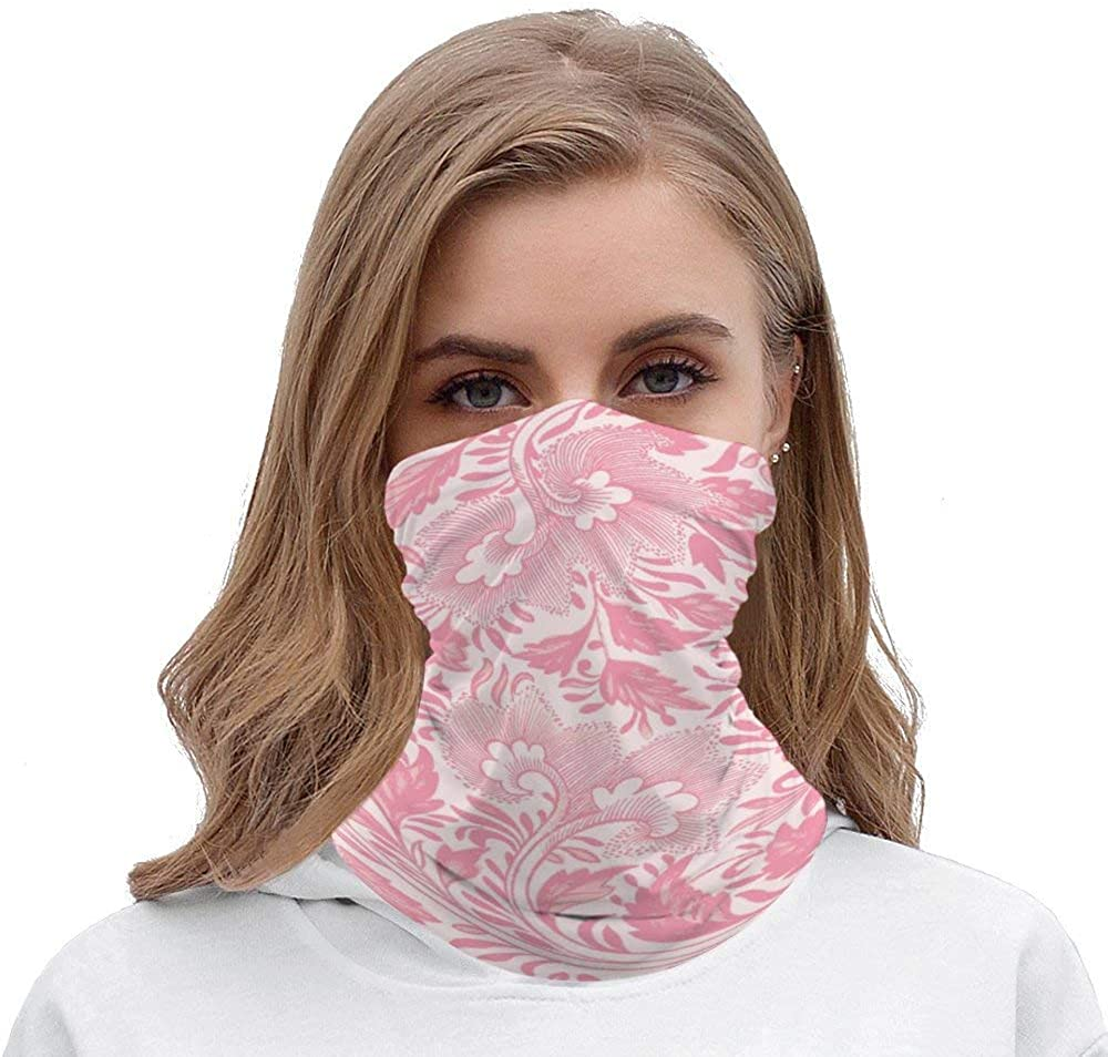 Pretty Girly Pink Floral Unisex Multifunctional Bandana Neck Gaiter Tube Headwear headkerchief, Motorcycle Face Mask Bandana Headband for Women Men Face Scarf