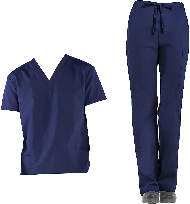Medical Scrubs TRU Basic Unisex V-Neck Top & Drawstring Cargo Pant Scrubs Set (L, Navy)