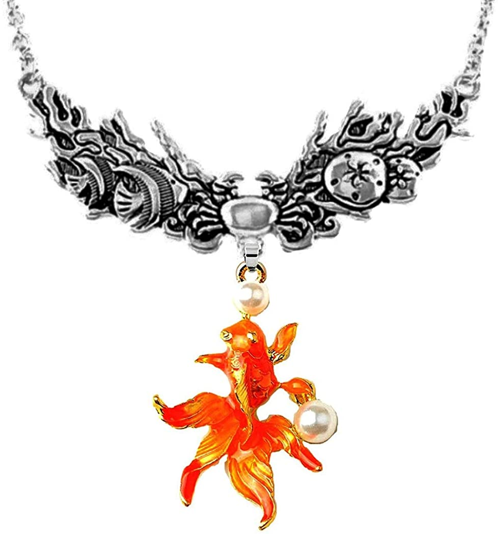 DianaL Boutique Metal Casting Goldfish Necklace Fish Sand Dollar and Crab Accent Fashion Jewelry