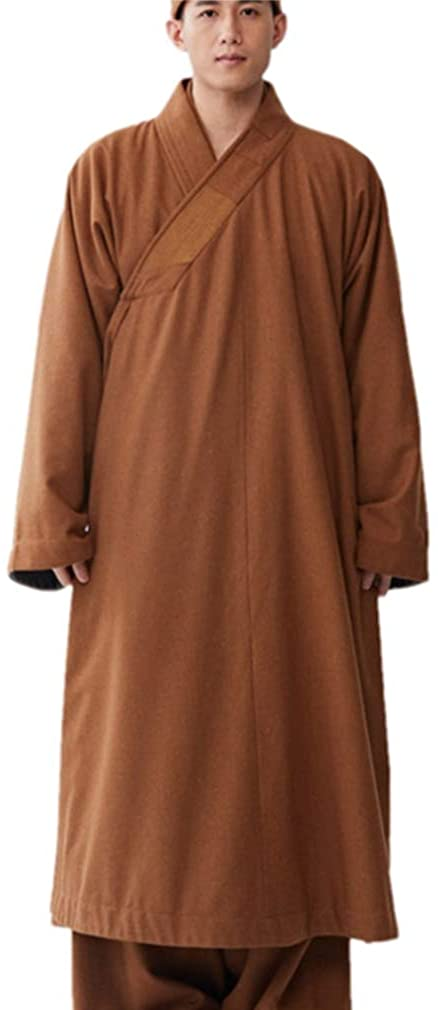 ZanYing Men's Medieval Monk Wool Lay Buddhist Meditation Winter Robe