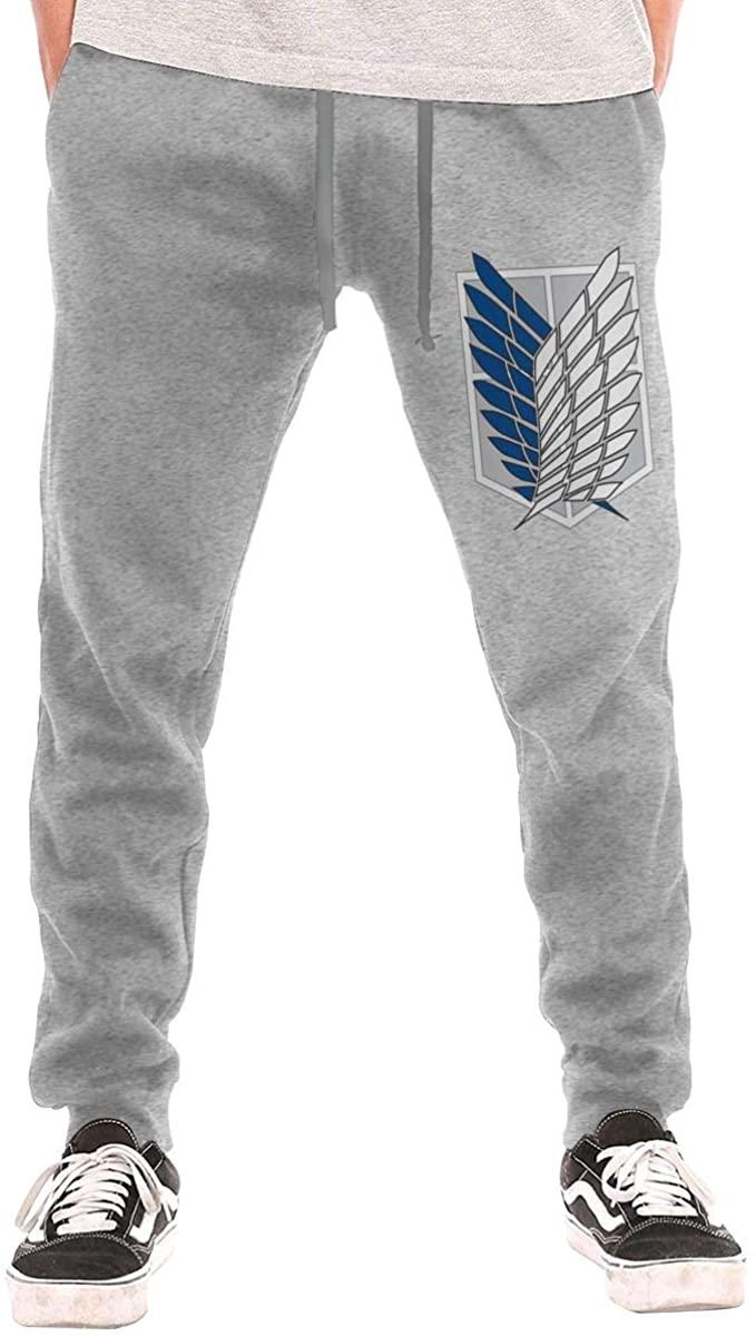 Men's Trousers Sweatpants Anime Attack On Titan Recon Corps Logo Personality Retro Creation Gray