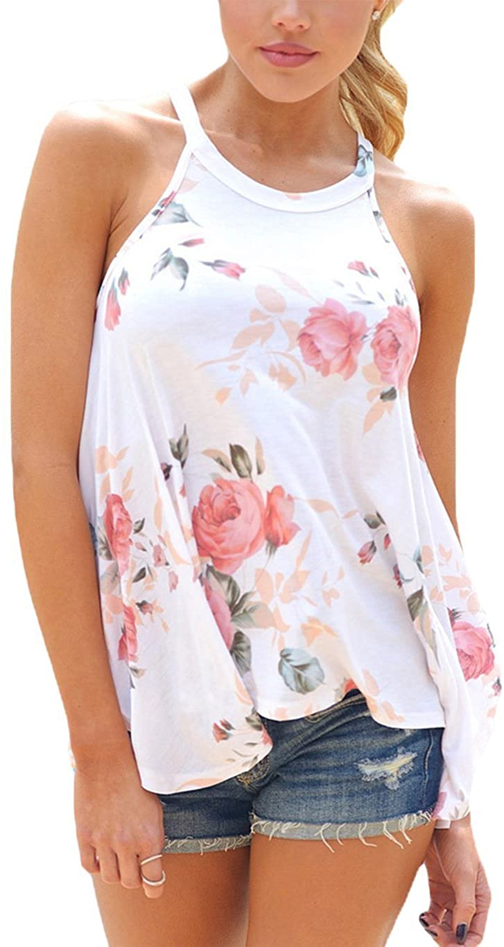 Tkria Womens Floral Print Tank Top Summer Cami Sexy Sleeveless Halter Camisole Spaghetti Strap T-Shirts