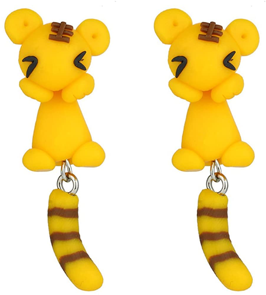 TIDOO Jewelry Hypoallergenic Handcrafted Polymer Clay Colorful Cute Animal Stud Earrings for Kids Girls Women Jewelry (YellowTiger)