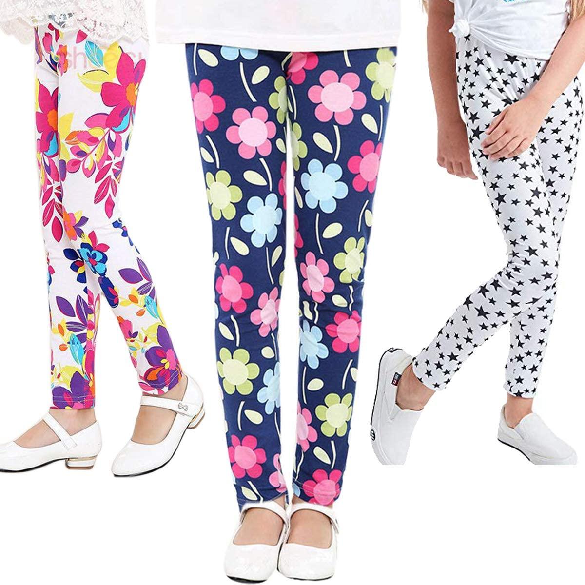 Girls Stretch Leggings Tights Girls Pants Printing Flower Toddler Classic Leggings for Kids 3 Packs Children Trousers