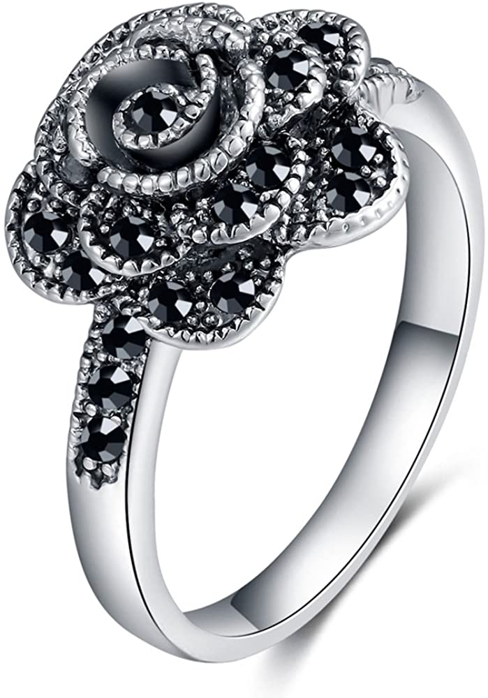 Shefashion Rhodium Plated Marcasites Rose Flower Cocktail Rings Ladies Silver Tone Statement Rings