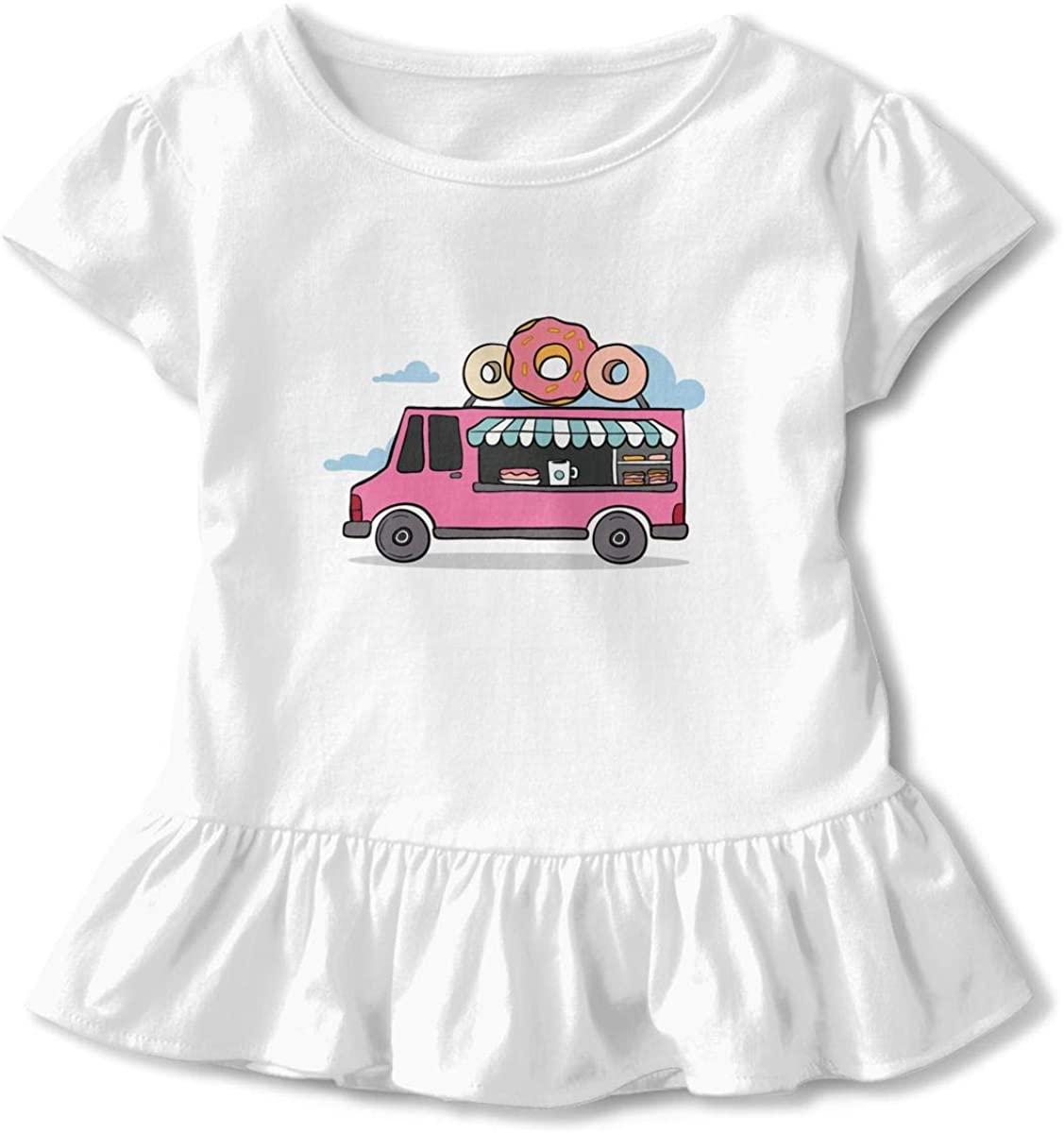 WQTYIUIO Doughnut Car Girls Short-Sleeve Cartoon T-Shirts with Flounce Details