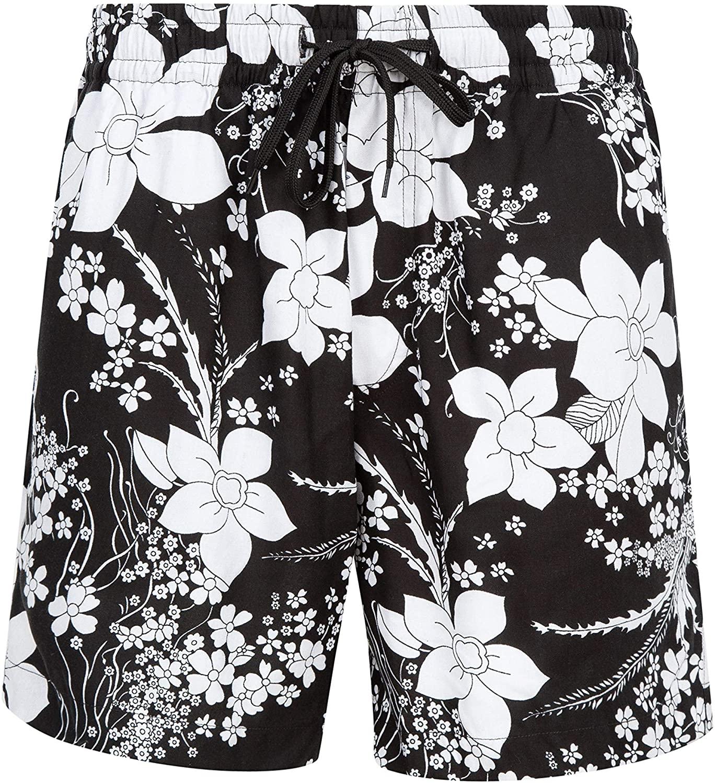 NOROZE Men's Summer Casual Shorts Hawaiian Beach Trunks Lounge Bottoms