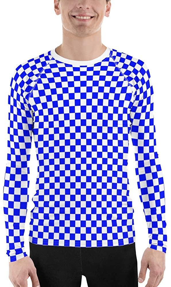 Checkered All-Over Print UPF 50+ Men's Rash Guard Long Sleeve T-Shirts
