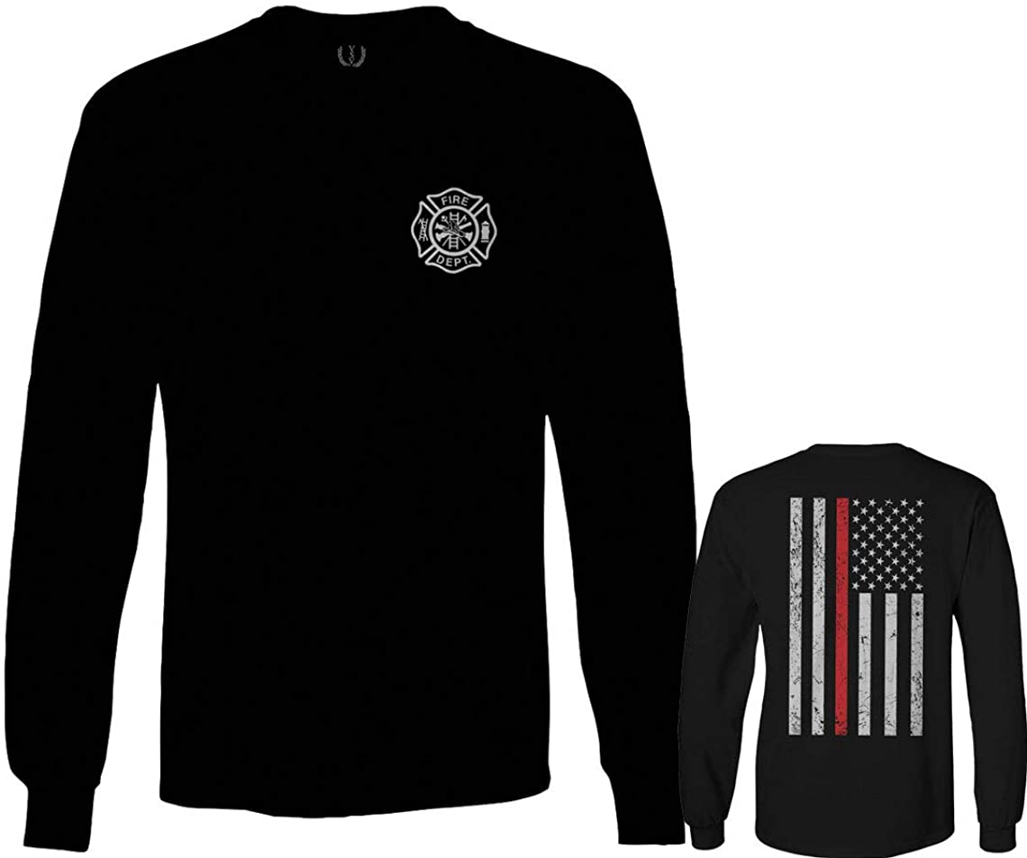 American Flag Thin Red Line Firefighter Support Seal Long Sleeve Men's