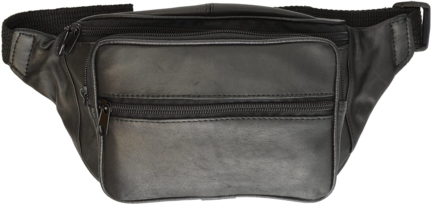 Leatherboss Fanny Pack with 5 Zipper Pocket - Black