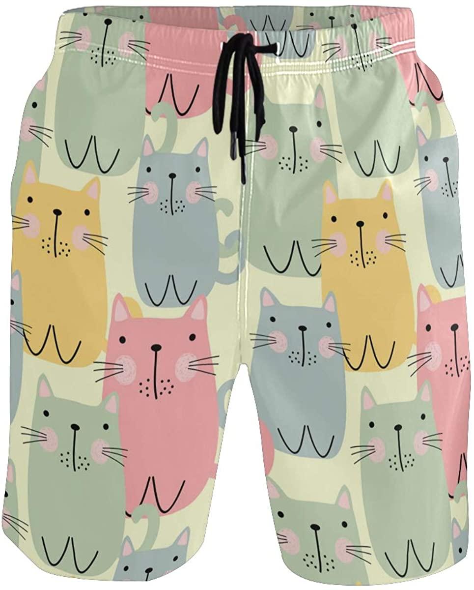 Mens Swim Trunks Cute Animal Cat Dog Summer Boardshorts with Pocket Beach Shorts