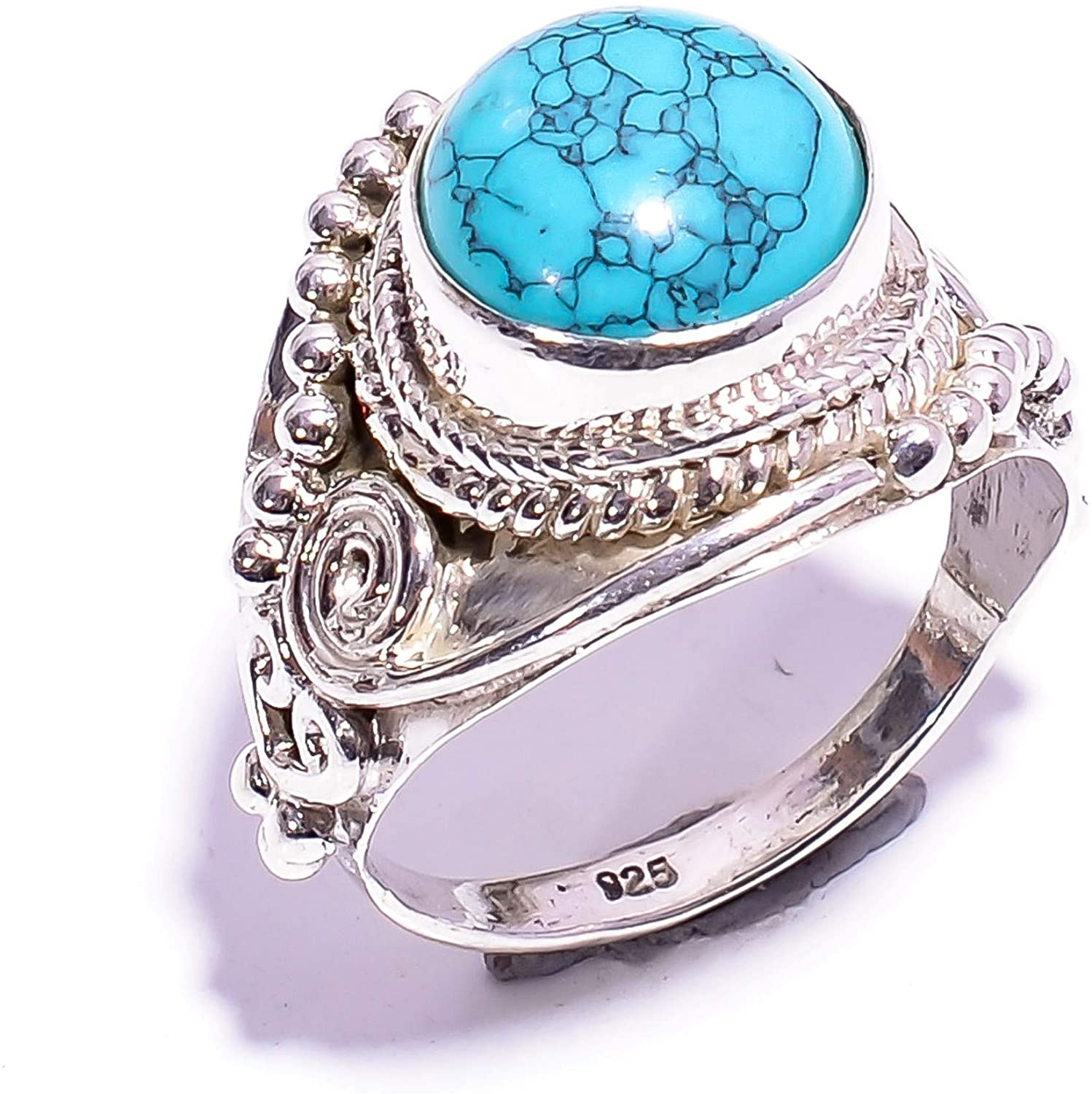 Mughal gems & jewellery 925 Sterling Silver Ring Natural Tibetan Turquoise Gemstone Fine Jewelry Ring for Women & Girls Size 7 U.S (ZR-907