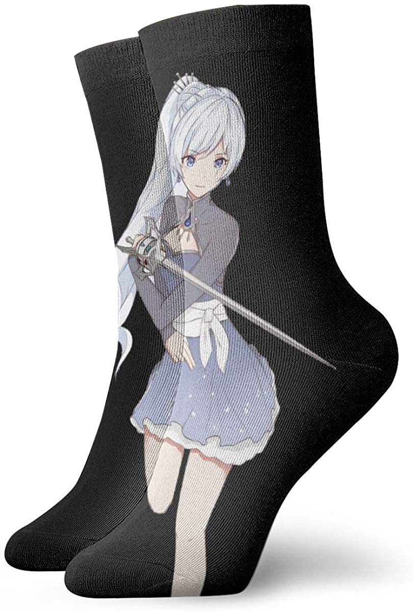 RWBY Weiss Schnee Men's Cotton Work Gear Crew Socks Cushioned, Wicking, Durable