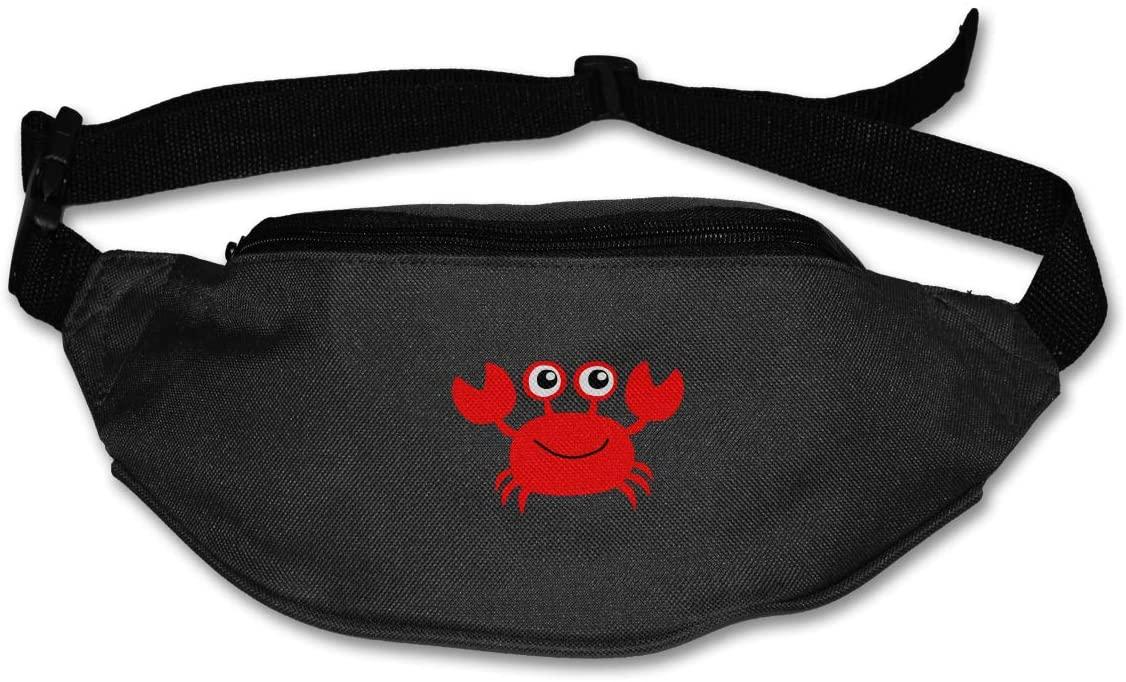 SWEET-YZ Unisex Waist Pack Cute Crab Flat Fanny Bag Pack for Sport Running