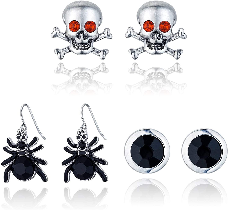 RareLove 3PCS Halloween Costumes Earrings Spider Skull Black Rhinestone Stud For Women Girls Alloy Plated