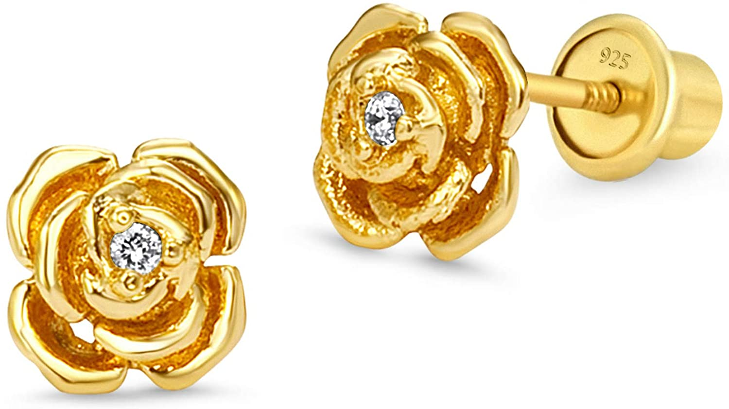 14k Gold Plated Brass Rose Cubic Zirconia Screwback Baby Girls Earrings with Sterling Silver Post