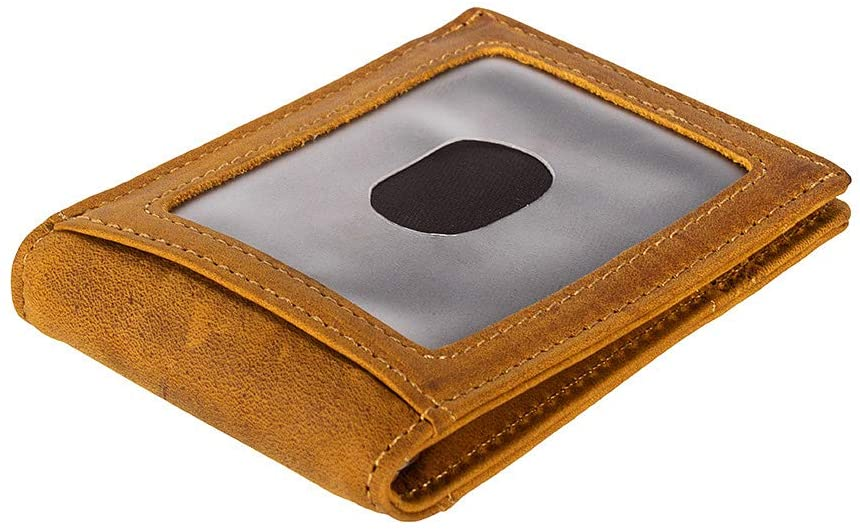 RFID Blocking Slim Minimalist Front Pocket Wallet, Money Clip for men (Brown)