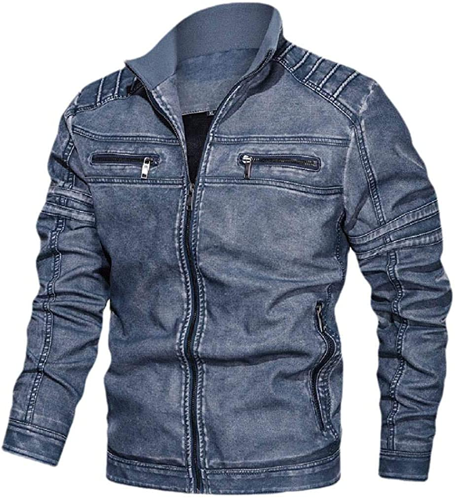 Qhghdgysd Men Motorcycle Biker Plus-Size Casual Fall Winter Leather Coat Jacket
